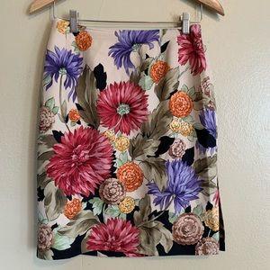 Talbots Petites | Silk Blend Floral Skirt | 2P